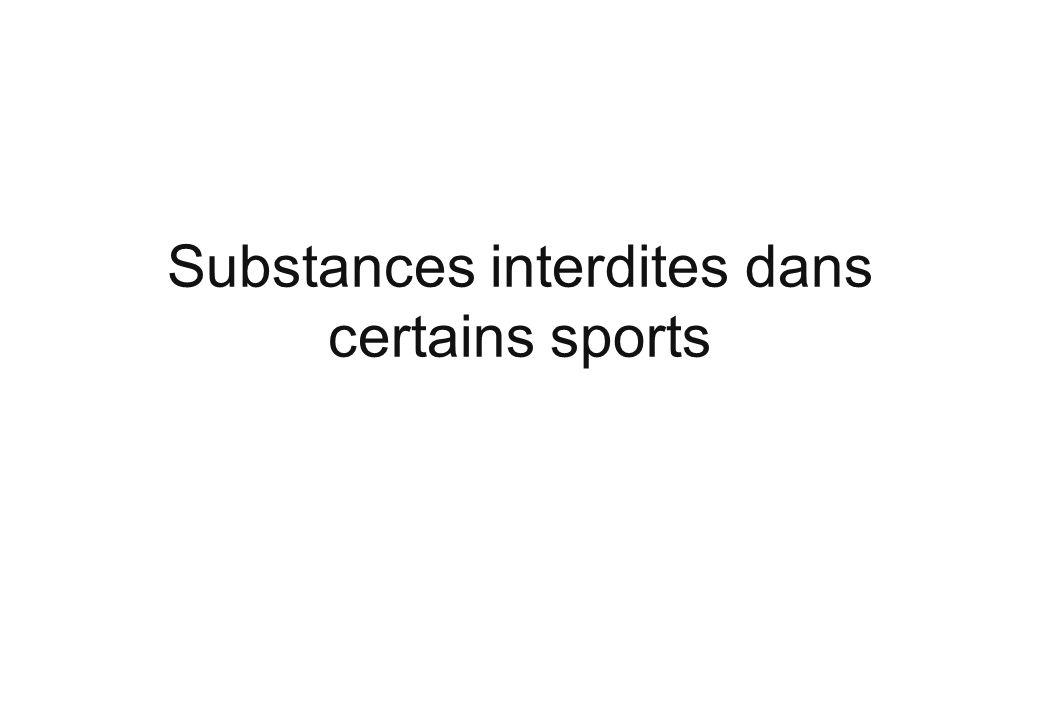 Substances interdites dans certains sports