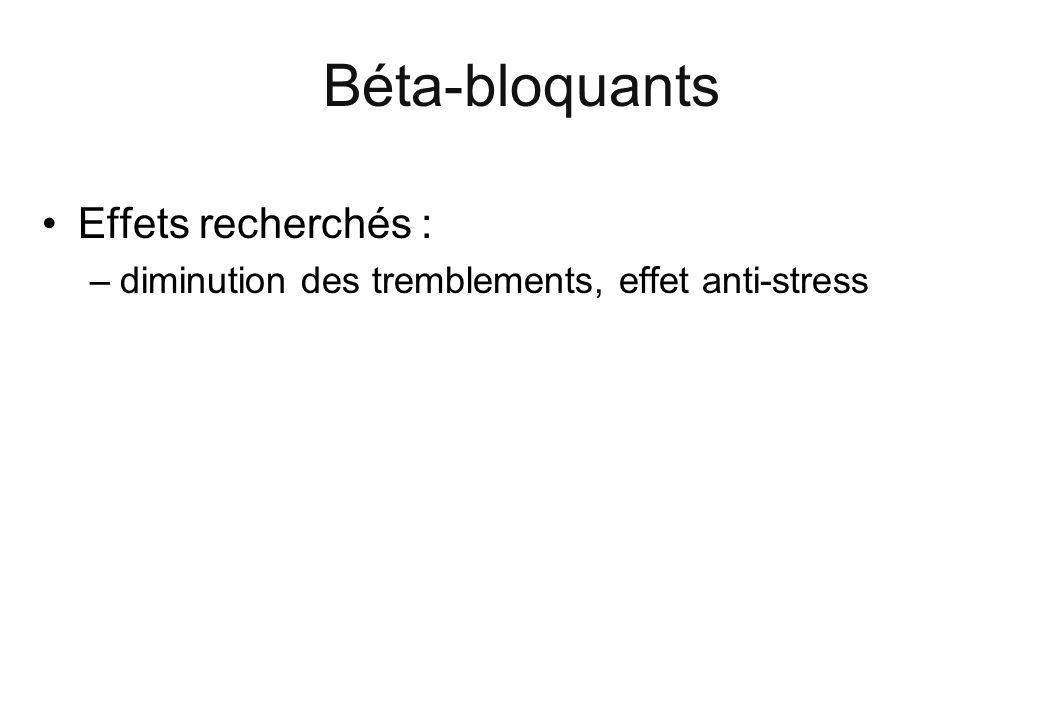 Béta-bloquants Effets recherchés :