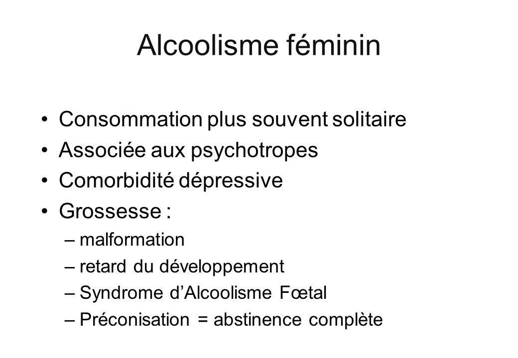 Alcoolisme féminin Consommation plus souvent solitaire