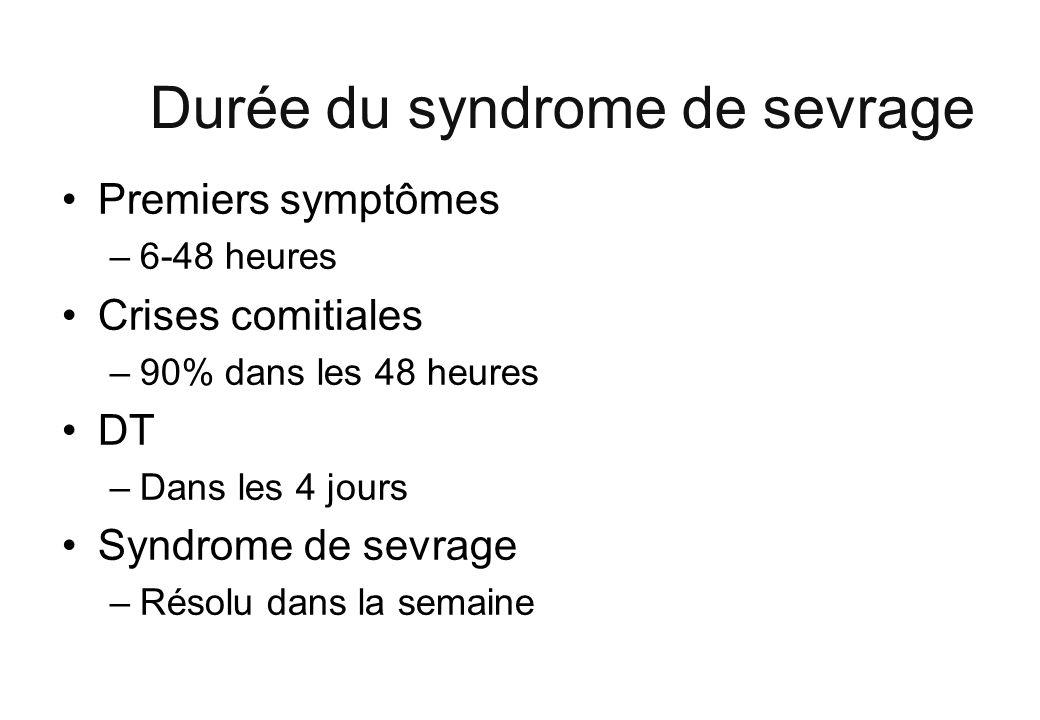 Durée du syndrome de sevrage