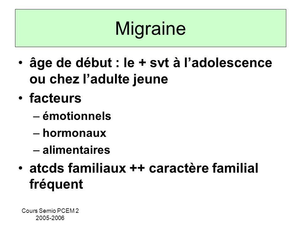 Migraine âge de début : le + svt à l'adolescence ou chez l'adulte jeune. facteurs. émotionnels. hormonaux.