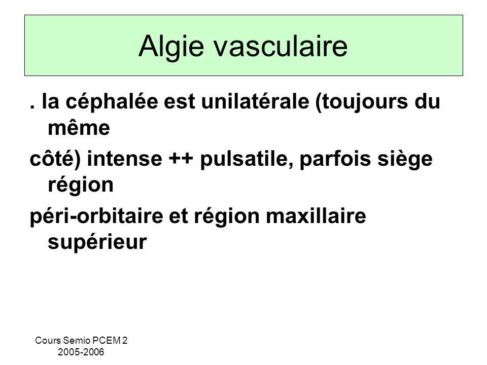Algie vasculaire . la céphalée est unilatérale (toujours du même