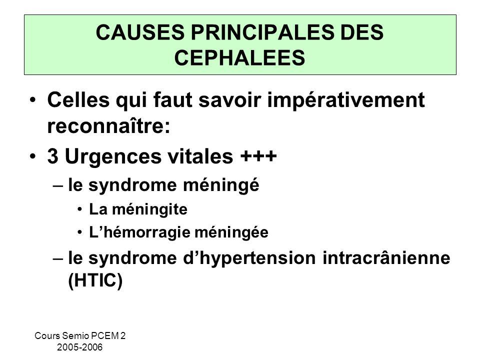 CAUSES PRINCIPALES DES CEPHALEES
