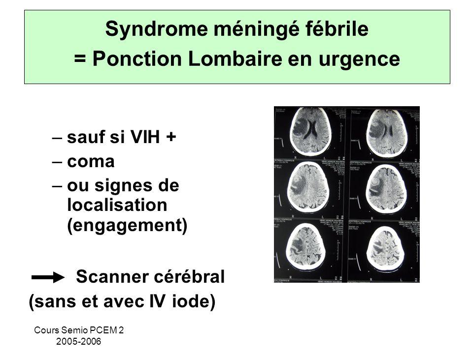 Syndrome méningé fébrile = Ponction Lombaire en urgence