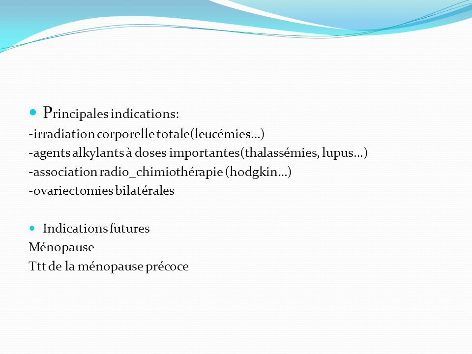 Principales indications: