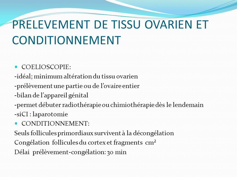 PRELEVEMENT DE TISSU OVARIEN ET CONDITIONNEMENT