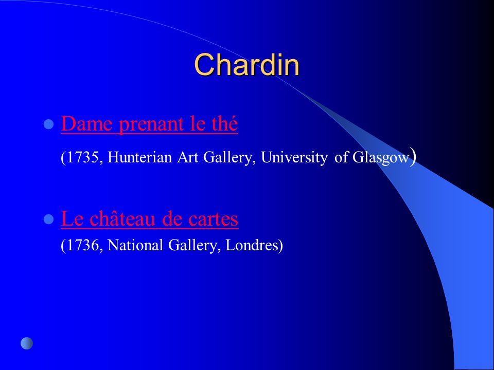 Chardin Dame prenant le thé Le château de cartes