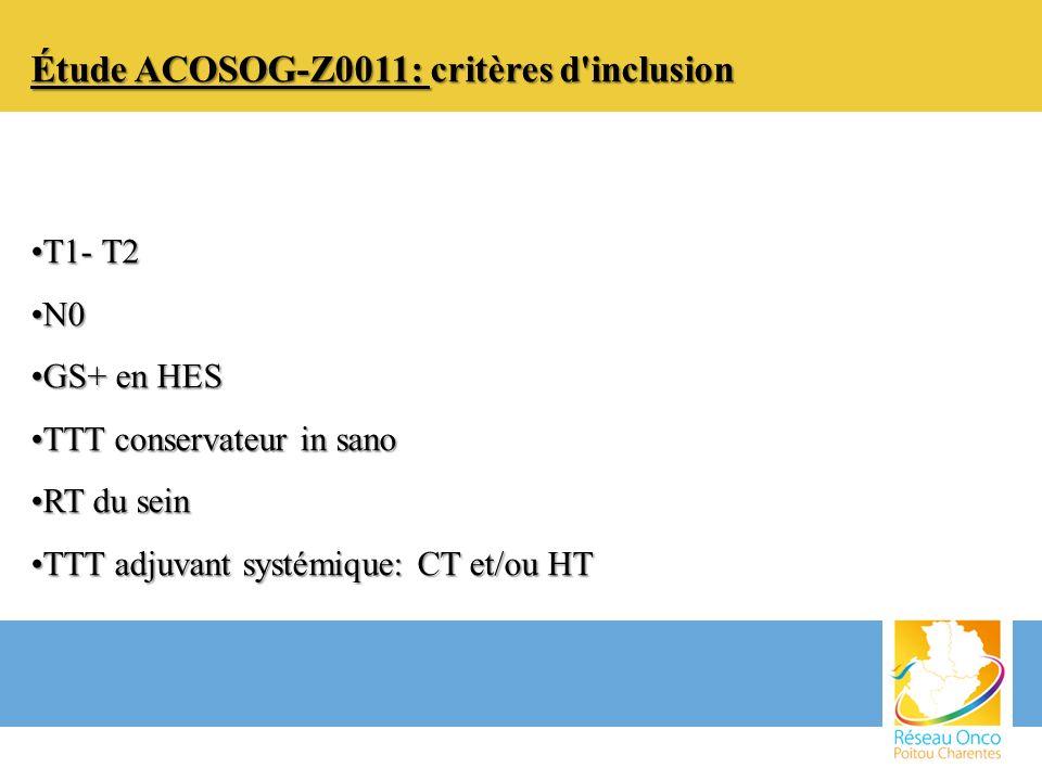 Étude ACOSOG-Z0011: critères d inclusion