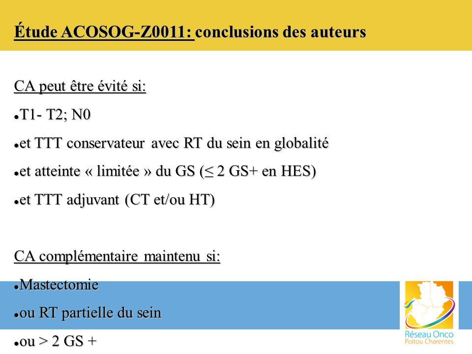 Étude ACOSOG-Z0011: conclusions des auteurs