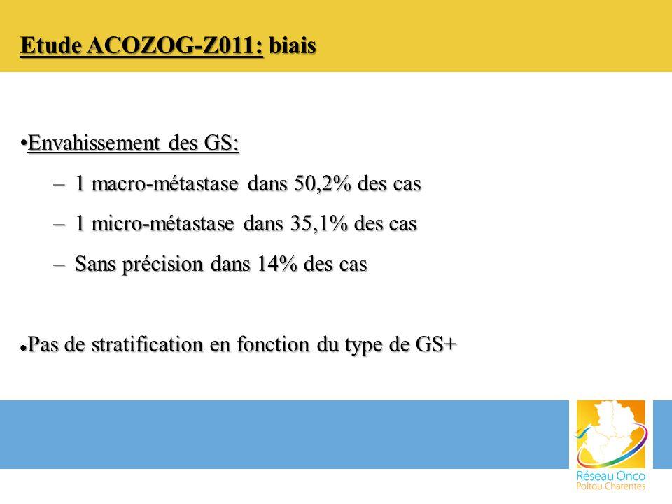 Etude ACOZOG-Z011: biais Envahissement des GS: