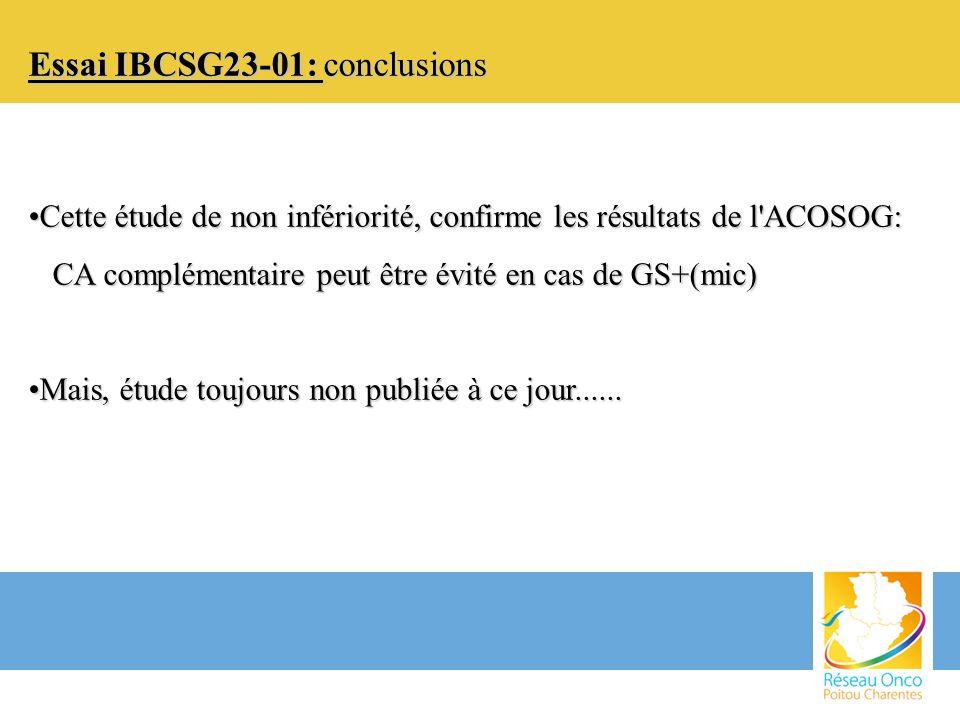 Essai IBCSG23-01: conclusions
