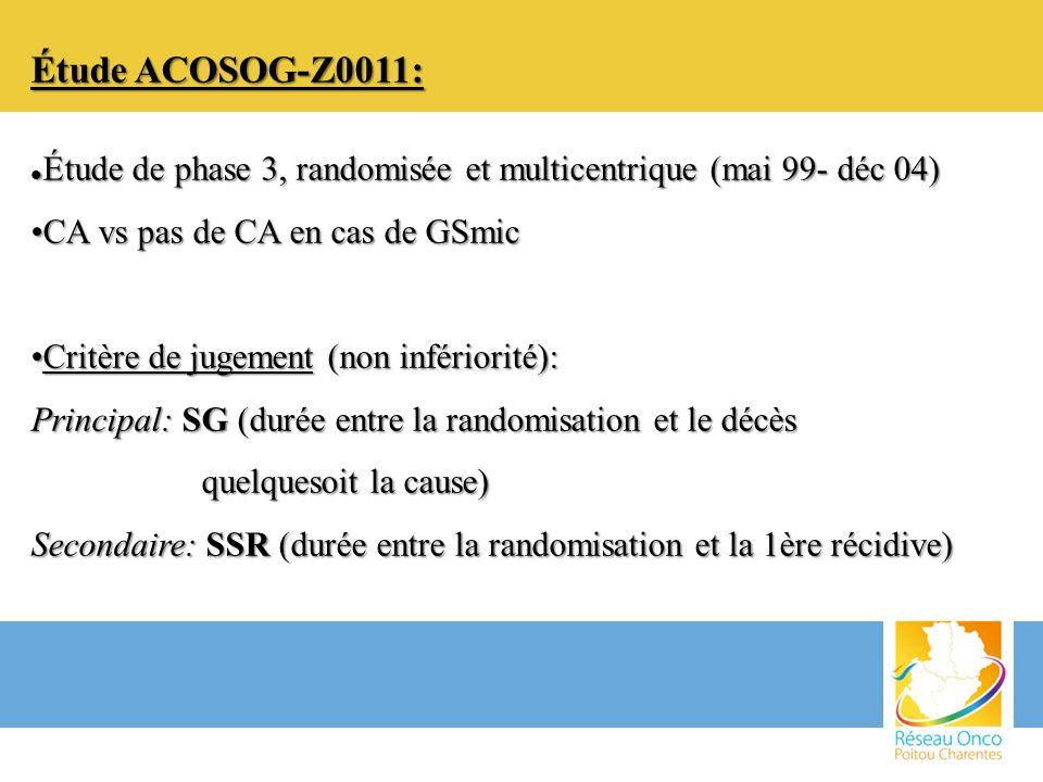 Étude ACOSOG-Z0011: Étude de phase 3, randomisée et multicentrique (mai 99- déc 04) CA vs pas de CA en cas de GSmic.