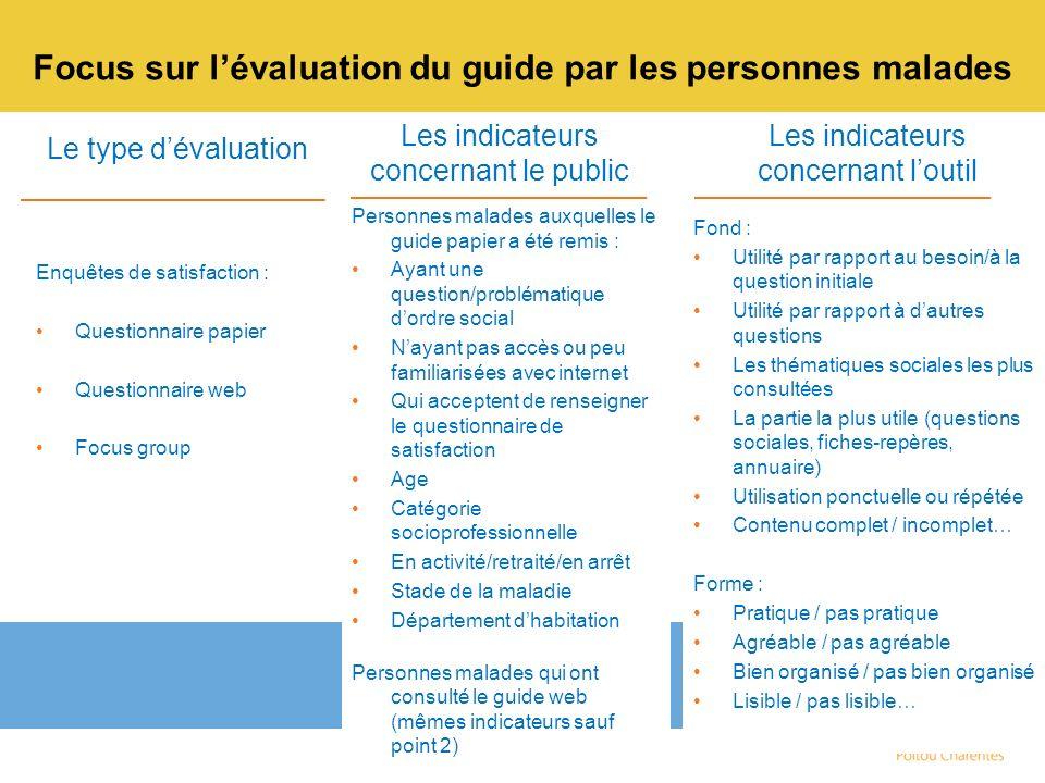 Focus sur l'évaluation du guide par les personnes malades