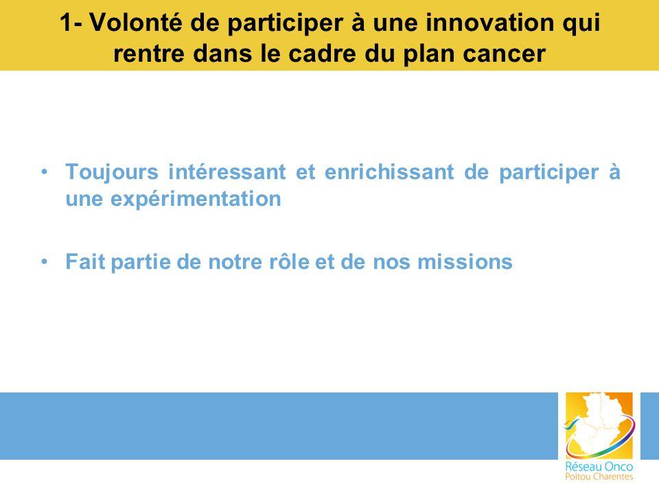 1- Volonté de participer à une innovation qui rentre dans le cadre du plan cancer