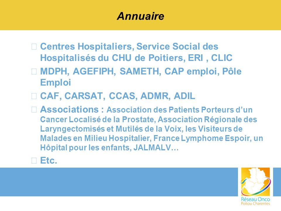 Annuaire Centres Hospitaliers, Service Social des Hospitalisés du CHU de Poitiers, ERI , CLIC. MDPH, AGEFIPH, SAMETH, CAP emploi, Pôle Emploi.