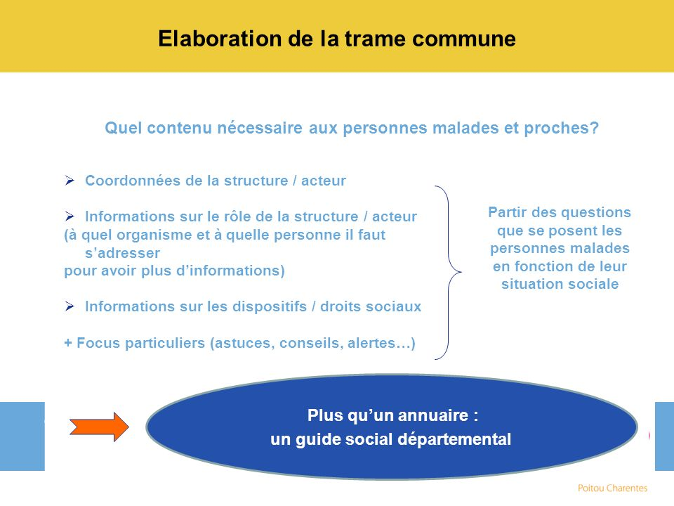 Elaboration de la trame commune