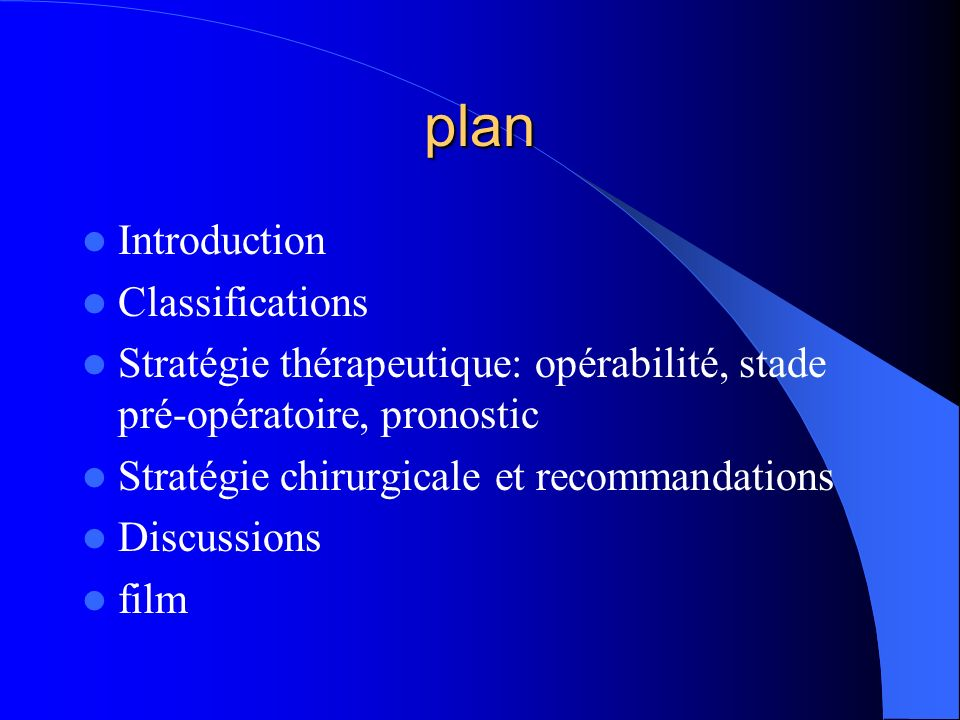 plan Introduction Classifications
