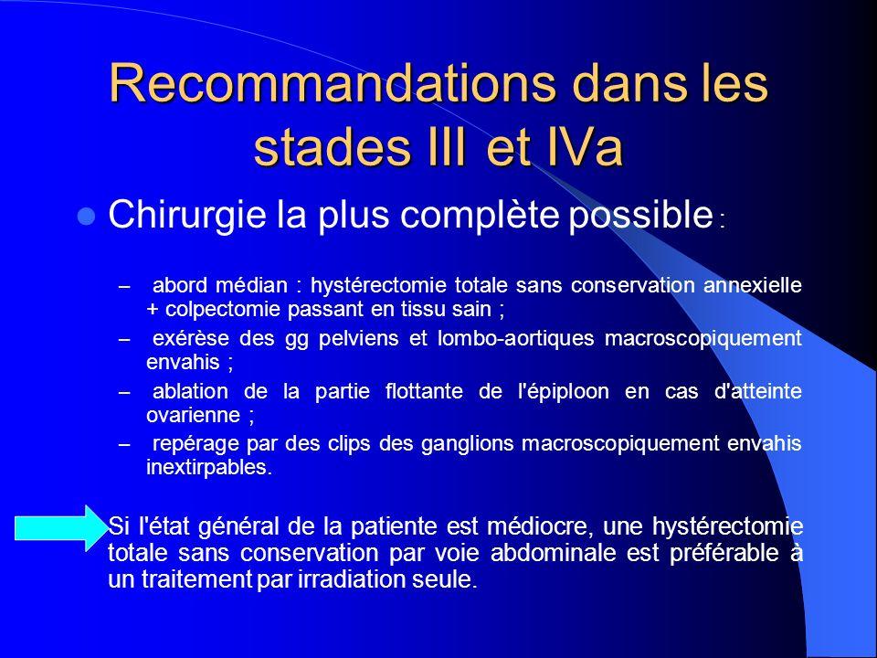 Recommandations dans les stades III et IVa