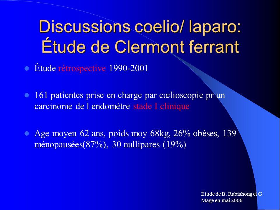 Discussions coelio/ laparo: Étude de Clermont ferrant