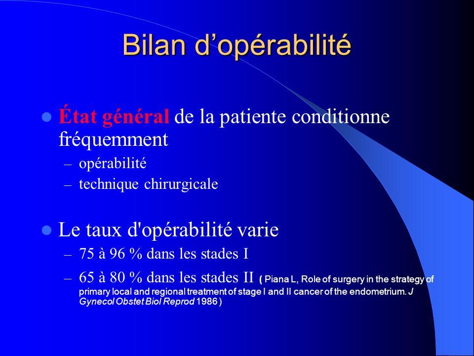 Bilan d'opérabilité État général de la patiente conditionne fréquemment. opérabilité. technique chirurgicale.