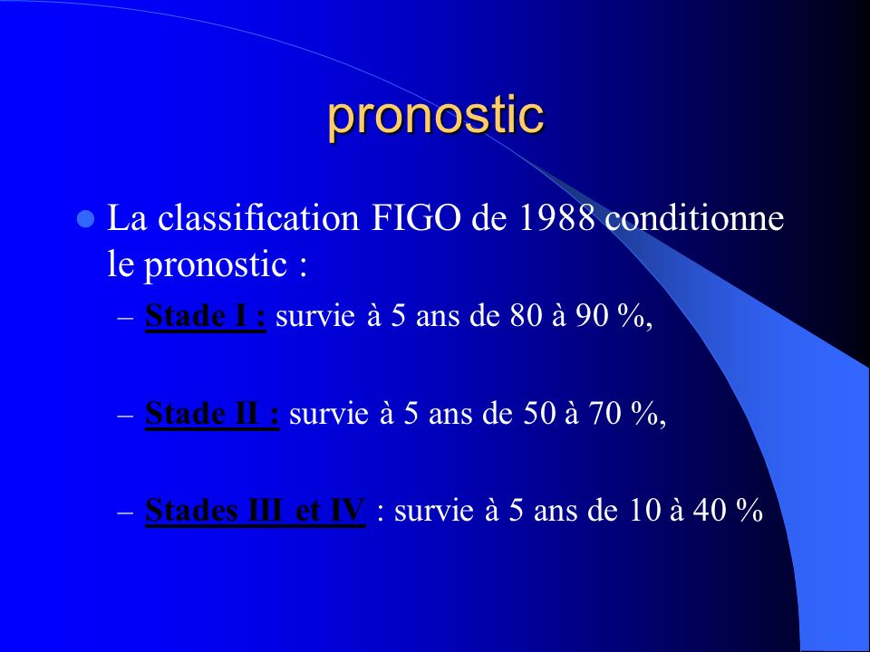 pronostic La classification FIGO de 1988 conditionne le pronostic :