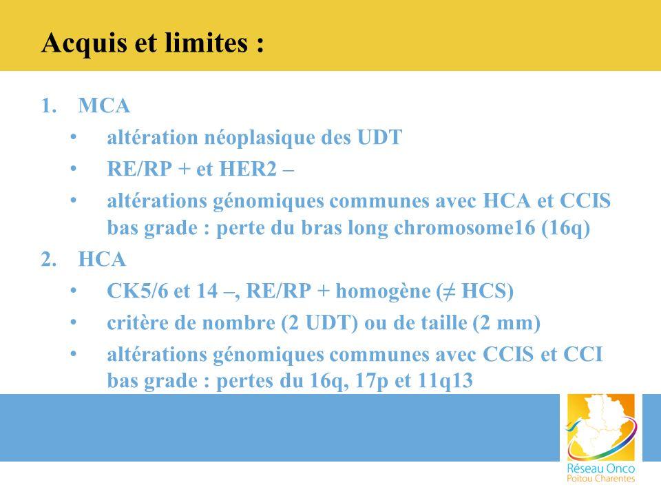 Acquis et limites : MCA altération néoplasique des UDT