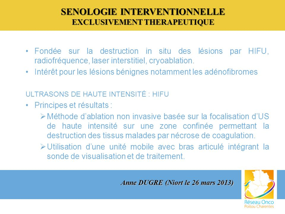 SENOLOGIE INTERVENTIONNELLE EXCLUSIVEMENT THERAPEUTIQUE