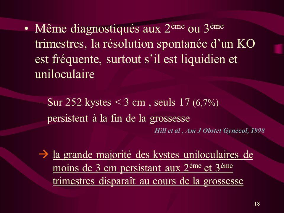 Même diagnostiqués aux 2ème ou 3ème trimestres, la résolution spontanée d'un KO est fréquente, surtout s'il est liquidien et uniloculaire
