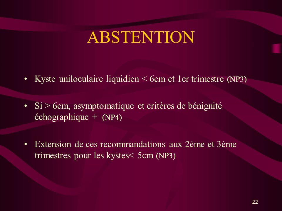 ABSTENTION Kyste uniloculaire liquidien < 6cm et 1er trimestre (NP3) Si > 6cm, asymptomatique et critères de bénignité échographique + (NP4)