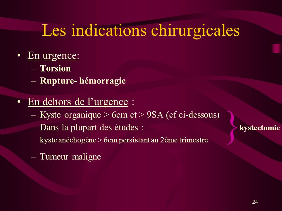 Les indications chirurgicales