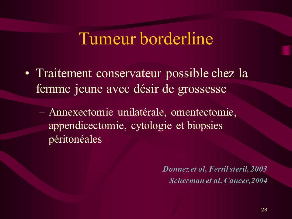 Tumeur borderline Traitement conservateur possible chez la femme jeune avec désir de grossesse.