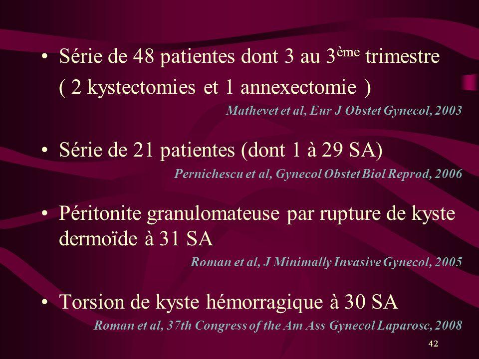 Série de 48 patientes dont 3 au 3ème trimestre