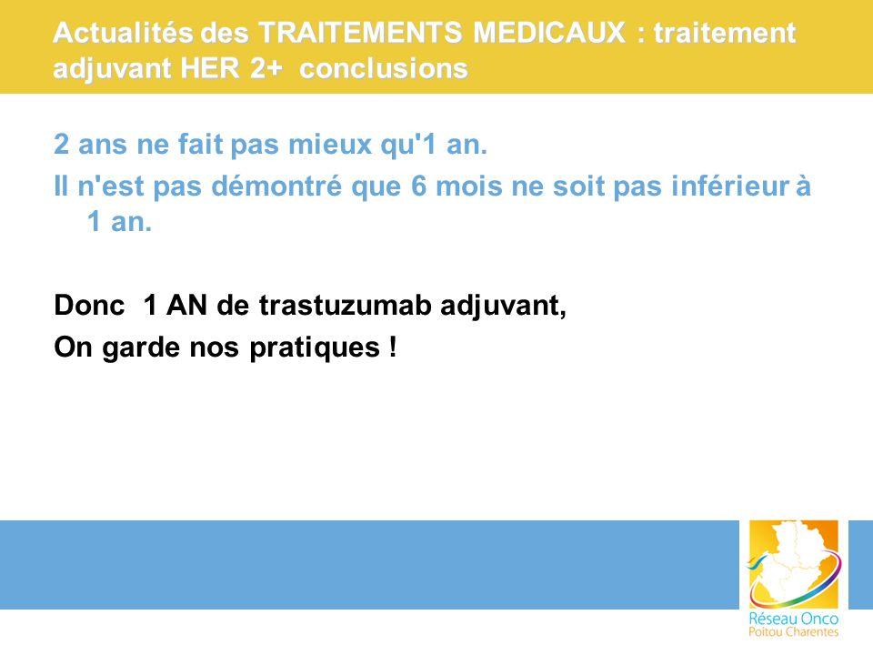 Actualités des TRAITEMENTS MEDICAUX : traitement adjuvant HER 2+ conclusions