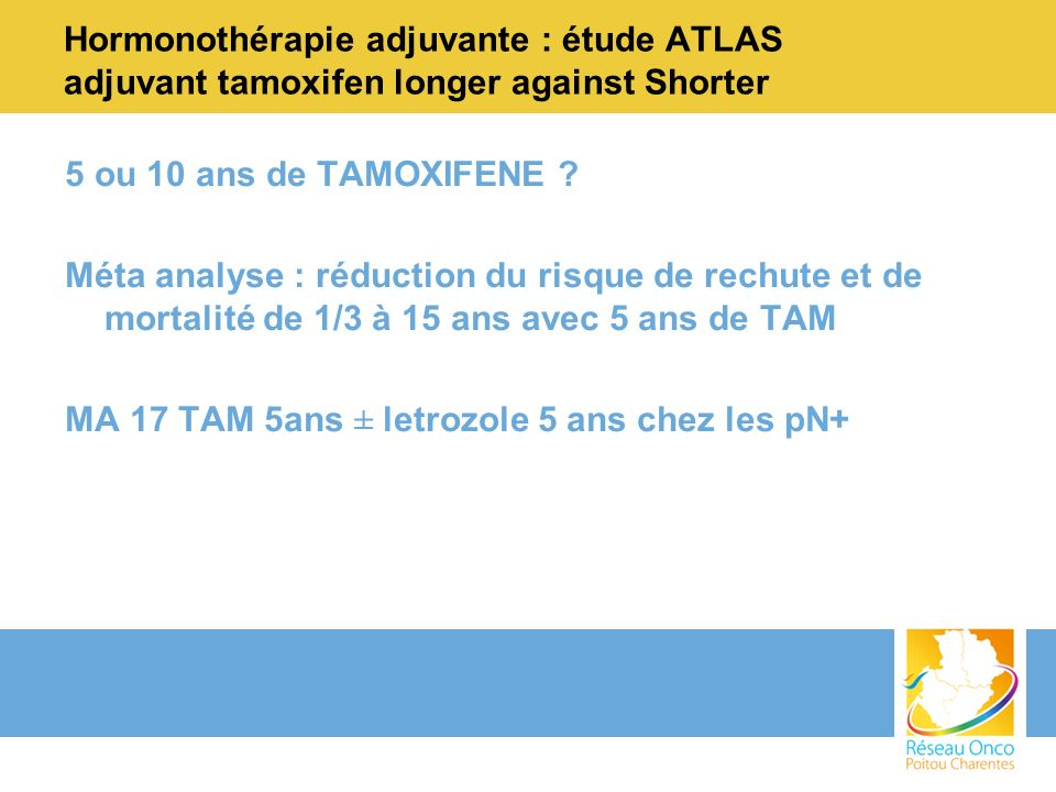 Hormonothérapie adjuvante : étude ATLAS adjuvant tamoxifen longer against Shorter