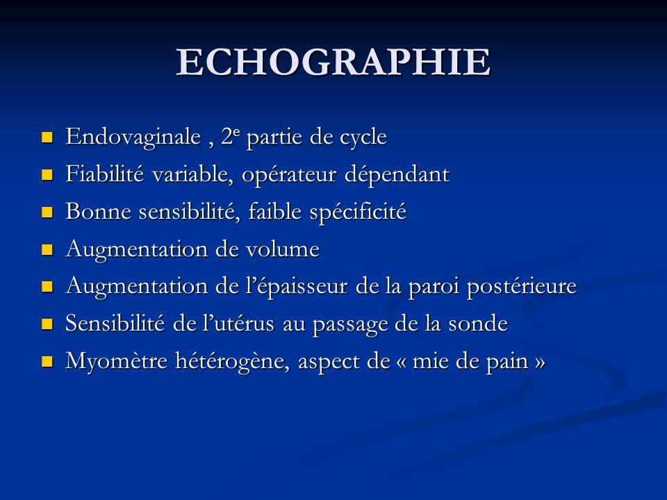 ECHOGRAPHIE Endovaginale , 2e partie de cycle