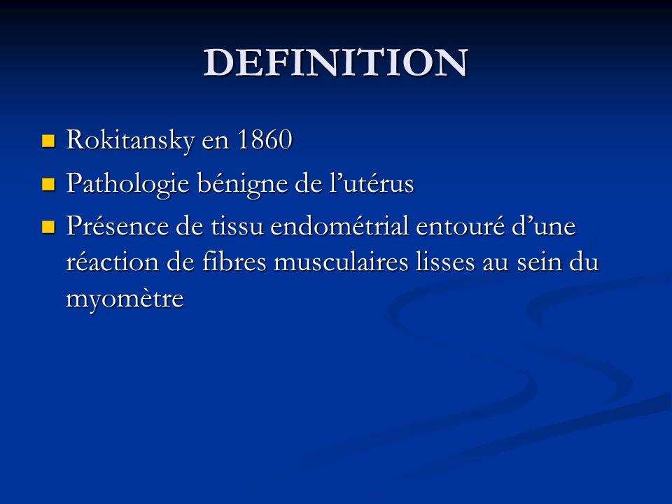 DEFINITION Rokitansky en 1860 Pathologie bénigne de l'utérus