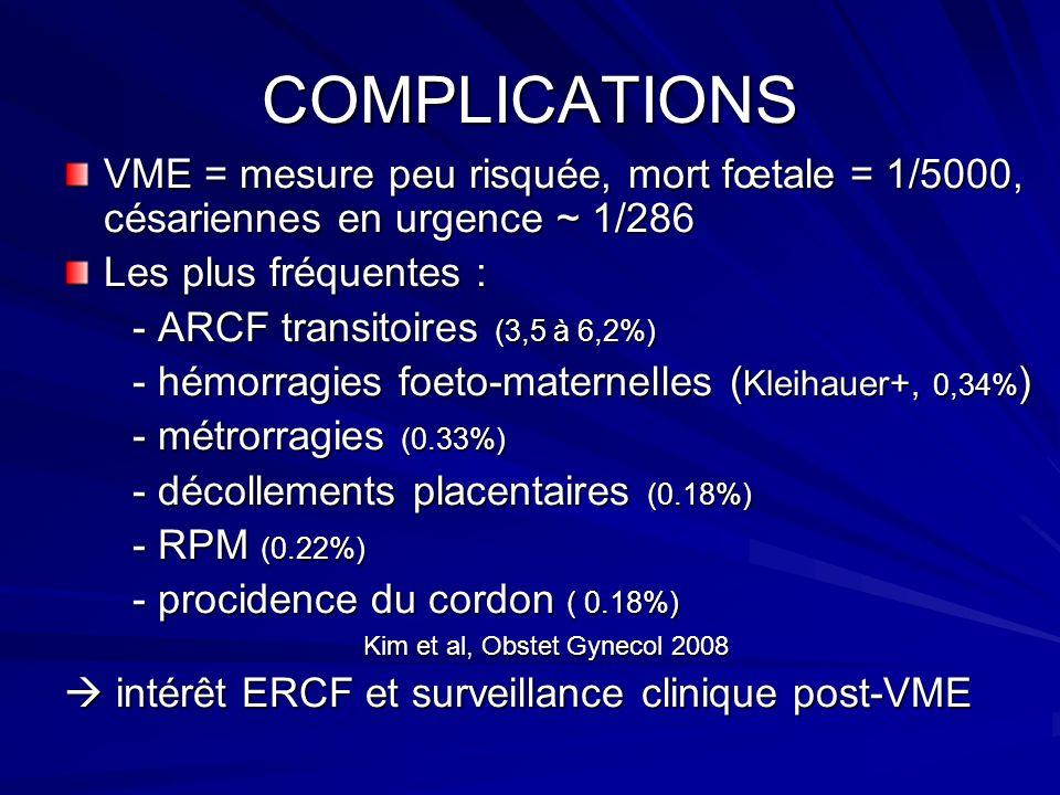 COMPLICATIONS VME = mesure peu risquée, mort fœtale = 1/5000, césariennes en urgence ~ 1/286. Les plus fréquentes :