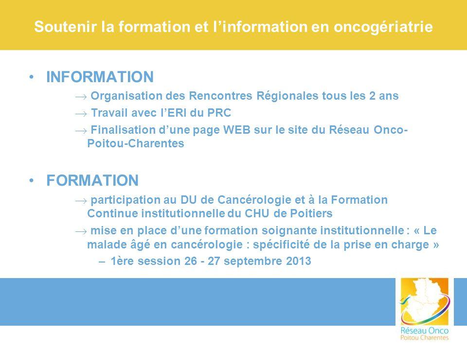 Soutenir la formation et l'information en oncogériatrie