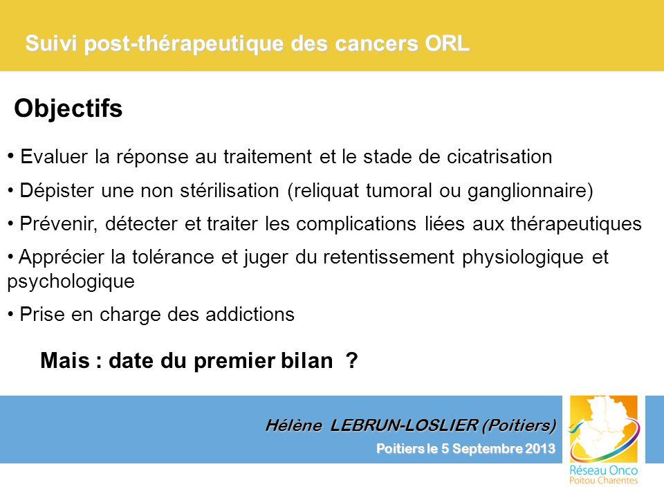 Objectifs Suivi post-thérapeutique des cancers ORL