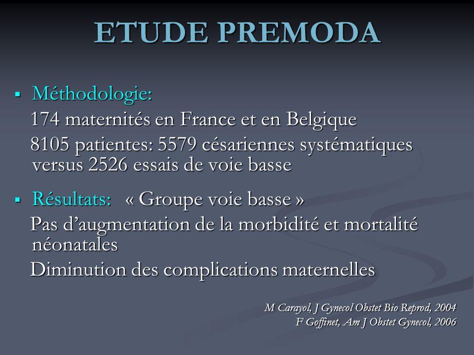 ETUDE PREMODA Méthodologie: 174 maternités en France et en Belgique