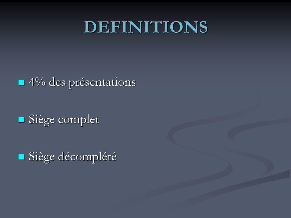 DEFINITIONS 4% des présentations Siège complet Siège décomplété