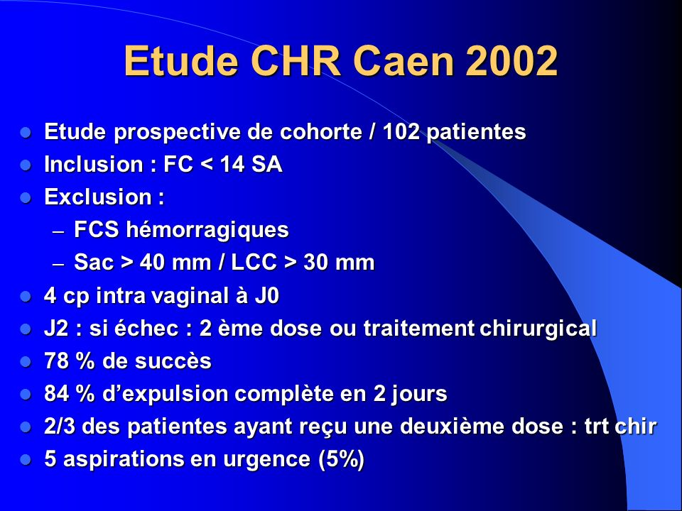 Etude CHR Caen 2002 Etude prospective de cohorte / 102 patientes