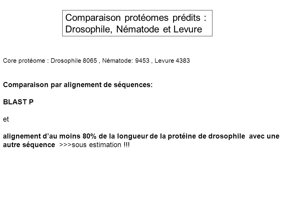 Comparaison protéomes prédits : Drosophile, Nématode et Levure