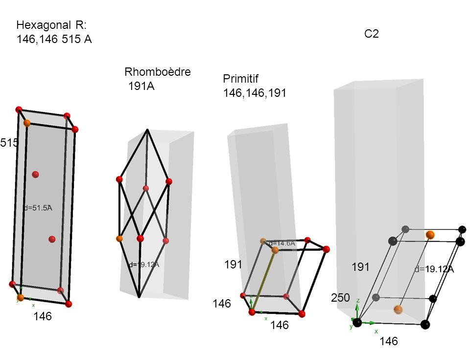 Hexagonal R: 146,146 515 A C2 Rhomboèdre 191A Primitif 146,146,191 515 191 191 250 146 146 146 146