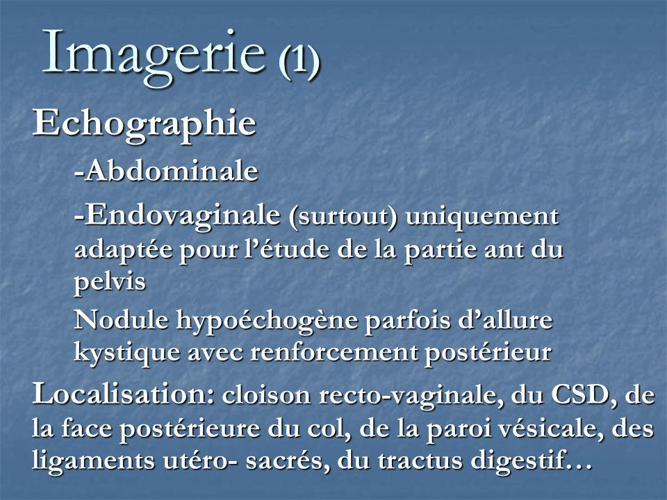 Imagerie (1) Echographie