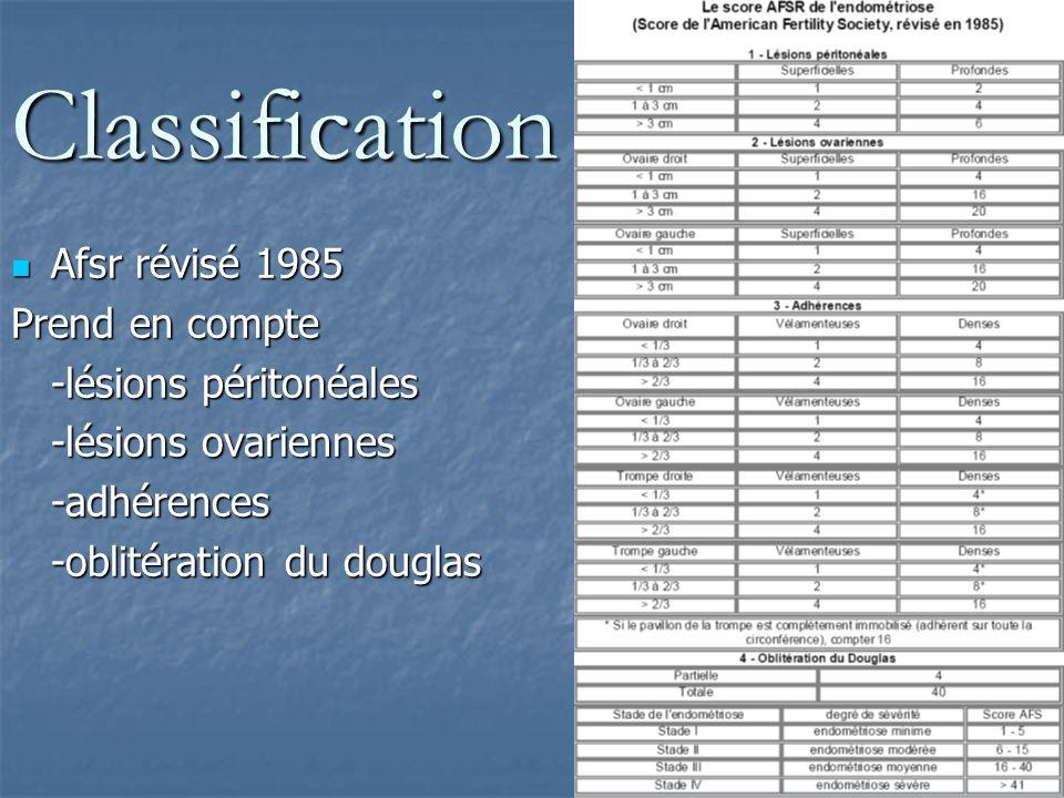 Classification Afsr révisé 1985 Prend en compte -lésions péritonéales