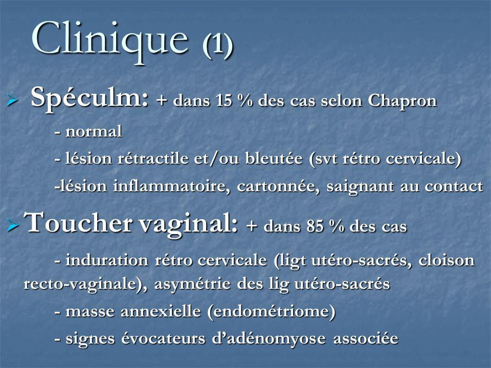 Clinique (1) Toucher vaginal: + dans 85 % des cas