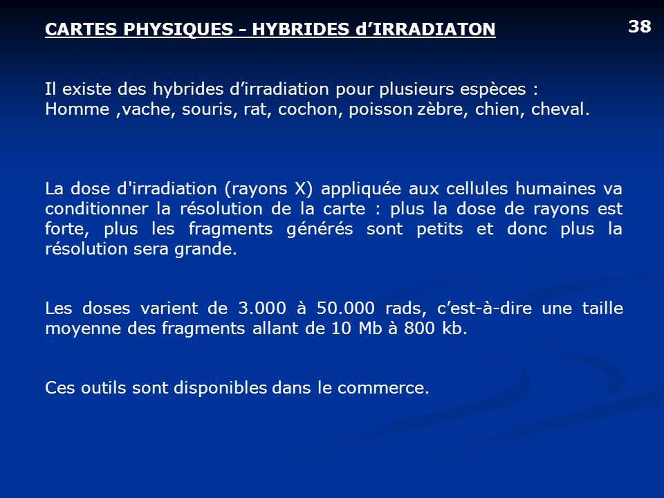 CARTES PHYSIQUES - HYBRIDES d'IRRADIATON