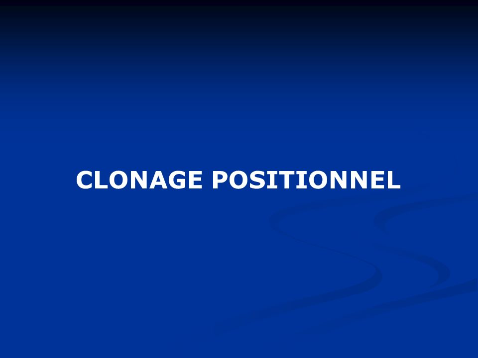 CLONAGE POSITIONNEL