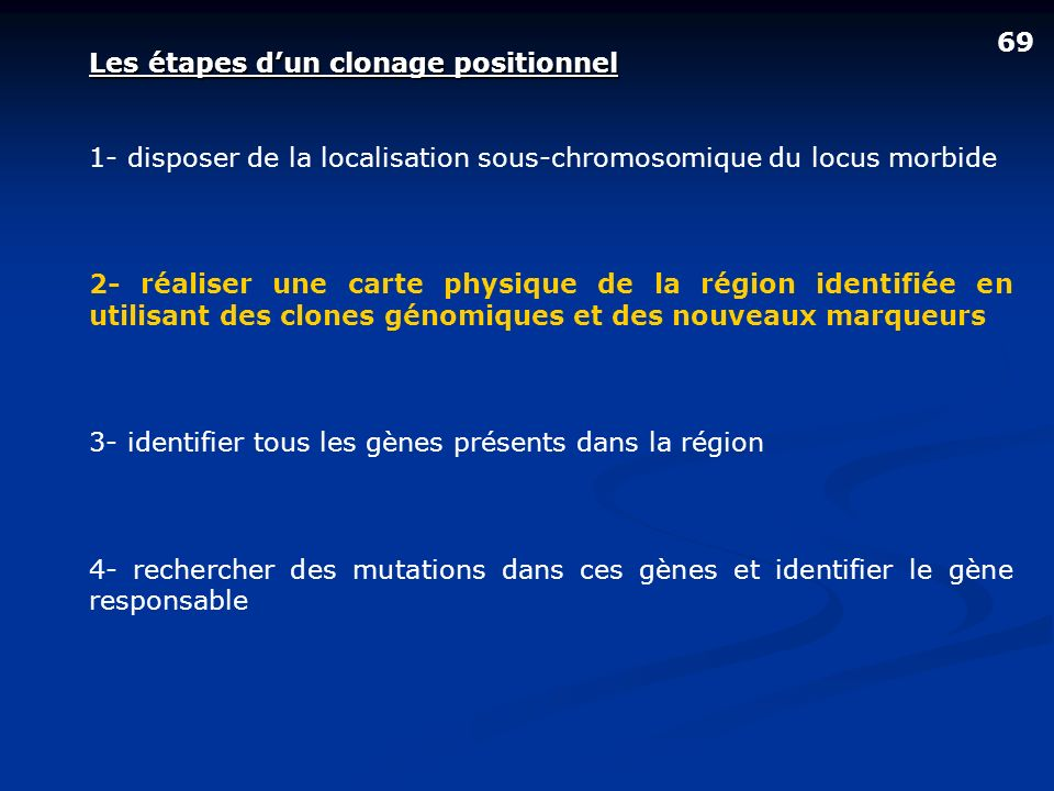69Les étapes d'un clonage positionnel. 1- disposer de la localisation sous-chromosomique du locus morbide.